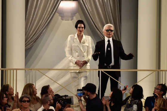 PARIS, FRANCE - JULY 07:  Kendall Jenner and Karl Lagerfeld walk the runway during the Chanel show as part of Paris Fashion Week Haute Couture Fall/Winter 2015/2016 on July 7, 2015 in Paris, France.  (Photo by Pascal Le Segretain/Getty Images)
