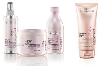 Vitamino Color A.Ox da L'Oréal Professionnel protege os cabelos contra a oxidação, o que fixa e potencializa a cor dos cabelos com química. Os produtos ainda previnem o desbotamento da cor e estabilizam os reflexos, mantendo o tom vibrante e brilho intenso. Shampoo (R$ 69), condicionador (R$ 92), máscara (R$ 121), creme para pentear (R$ 122), spray multiuso Color 10 IN 1 (R$ 143